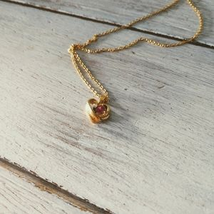 Gold Heart Charm Necklace Pink Tourmaline